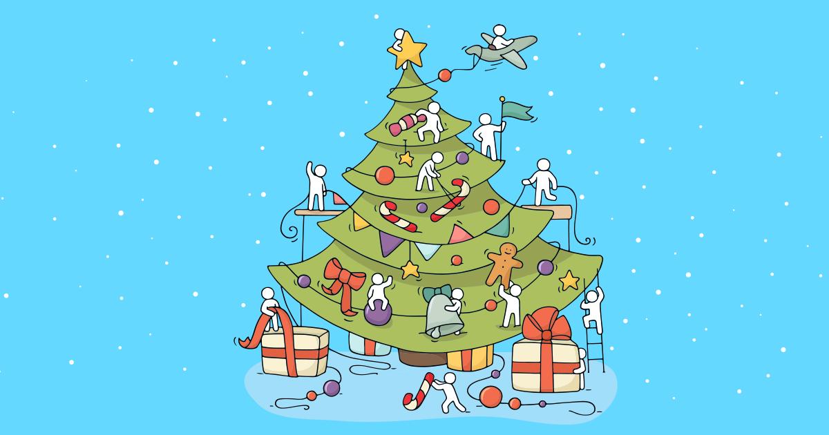 Un árbol de Navidad decorado